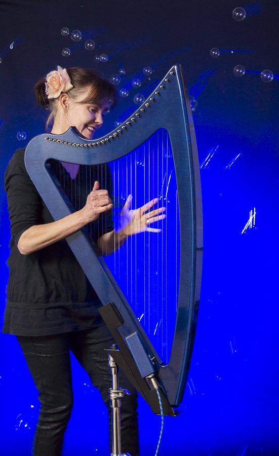 electrische harp, festival, blauwe harp, feestmuziek, magische harp, ambient